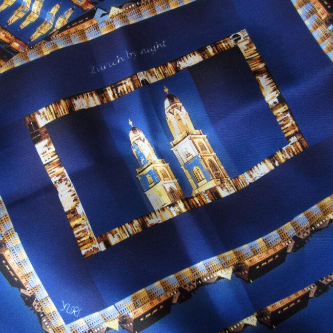 Seidenfoulard Yuridesign «Zurich By Night»